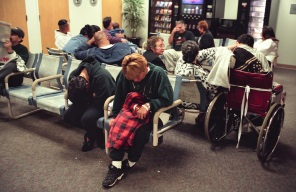 Crowded emergency room waiting area.